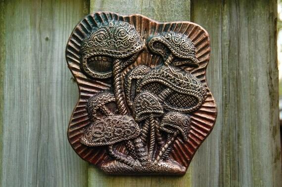 Mushroom Garden Art Sculpture, Cast Stone Garden Art, Fairy Mushroom Garden Decor