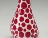 Red Organic Polka Dot Vase  Hand Painted