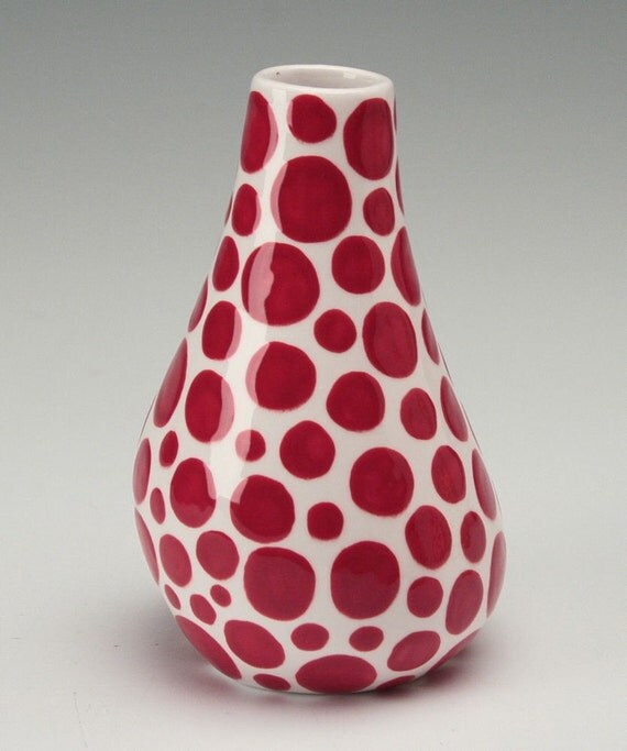 Red Organic Polka Dot Vase  Hand Painted