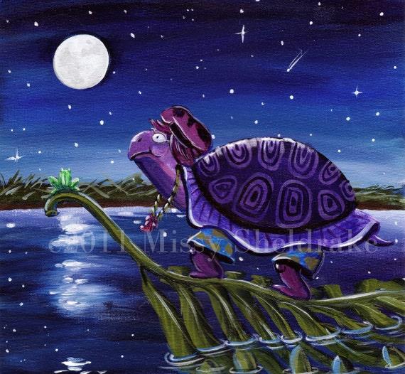 Turtle Art Print Moonlight Pond Colonel Purple Turtle Dark Blue Moon and Stars Limited Edition Boys Art Girls Art Nursery Art