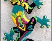 """Gecko Outdoor Wall Hanging - 18"""" Painted Haitian Metal Garden Art - Gecko Art - Tropical Outdoor Wall Art - Gecko Garden Decor -  M402-TQ-18"""