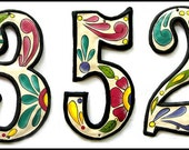 "Address Numbers - 3 House Numbers - 4 1/2"" Hand Painted Metal Address Number - Haitian Recycled Steel Drum - Painted Metal Art - AD-100-4W"