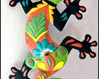 """Gecko Outdoor Wall Hanging - Gecko Metal art - 24"""" Painted Metal Gecko Garden Art- Tropical Design - Gecko Home Decor - Lizard - M401-GR-24"""