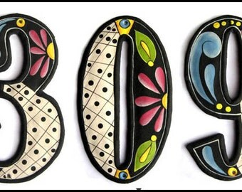 "Address Number - 3 House Numbers - 7 1/2"" Hand Painted Metal Addresses - Haitian Recycled Steel Drum, Decorative House Number -  AD-200-7BK"