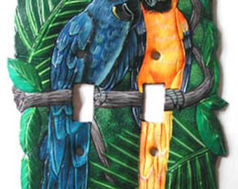 Light Switch Plate Covers - Double Switchplate - Hand Painted Metal Art Macaw Parrots - Switch-Plate - Haitian Steel Drum Art - S-1008 -2