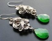 Emerald Earrings, Green Chalcedony, Gunmetal, Oxidized Silver Earrings, Chandeliers Earrings