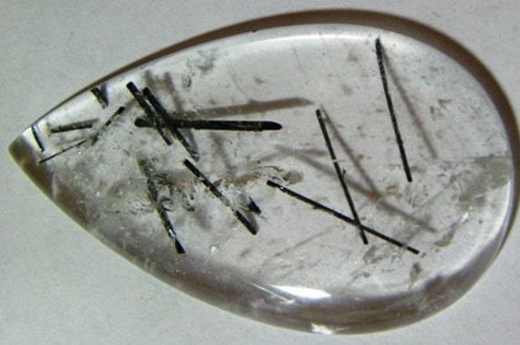 Clear Quartz Black Tourmaline Crystals Cabochon (702-P)