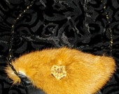 Rabbit fur and leather clutch purse