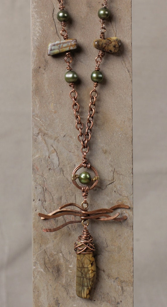 Petroglyph necklace, wire wrapped red creek jasper pendant with pearls, hammered copper