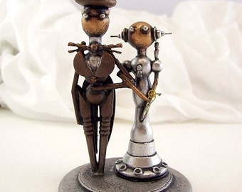 Cupcake Wedding Topper Bride Groom Elegant Wedding Momento Space Princess Dress Top Hat Tails Handmade Wood Sculpture