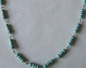 Upcycled Medium Length Sky Blue Necklace with Purple and Green Stripes