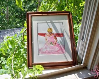 Pink Angel Watercolor