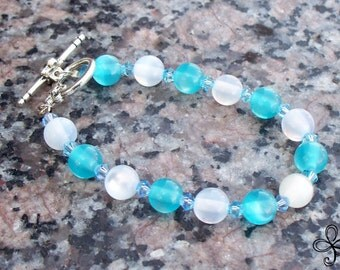 Blue and White Cat's Eye and Crystal Bracelet