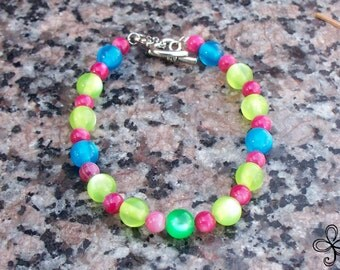 Green and Blue and Pink Mushroom Kingdom Cat's Eye and Shell Bracelet