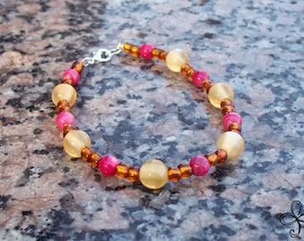 Pink and Yellow Cat's Eye and Shell Bracelet