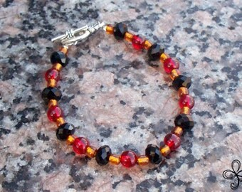 Black Crystal and Red and Gold Glass Bracelet
