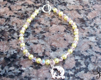 Moon and Stars Pink Crystal and Glass Pearls Bracelet