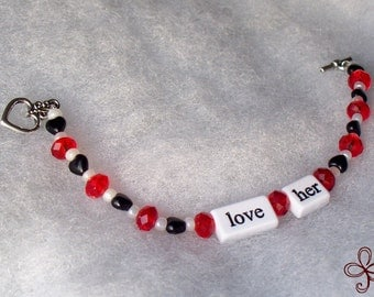 Love Her - Red Crystal Black Heart and White Seed Bead Bracelet