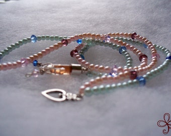 Once Upon a Dream - Honey Bee Mine Necklace (Pink and Blue), Heart Bottle Charm, Crystal Dangles