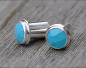 0 Gauge Faceted Turquoise and Silver Plugs- made to order