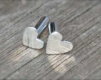 8 Gauge Silver Heart Plugs- made to order