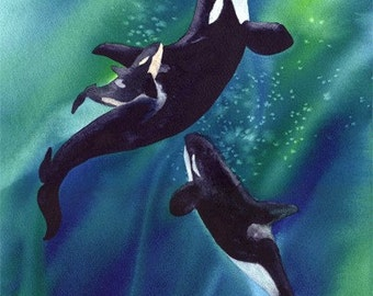 Spirit Sanctuary, Watercolor Print, Orcas, Killer Whales, Pacific Northwest, Blue, Green, Underwater, Mother and Calf