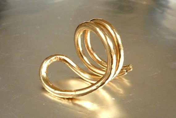 Cobra Gold Ring, Snake Shape Ring, Statement Ring, Yoga Naga Asana Shape, Organic Shape, Gold Filled Ring - Handmade Ring - Venexia Jewelry