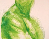 """Bright Green Figurative Drawing - from life - 14 x 19.5"""" Figure in Green - colored pencil on paper - original drawing"""