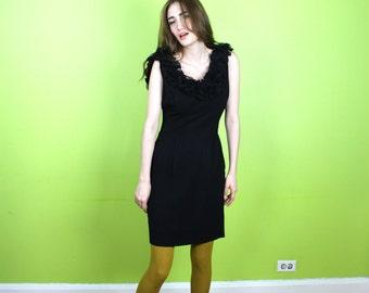 Dress 1950s 50s Vintage Mad Men Rockabilly LBD Black OPEN BACK M Medium