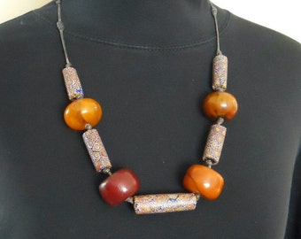 Trade Bead Necklace Amber and Glass Vintage Beads Venetian African Red Yellow Blue  (VN-107)