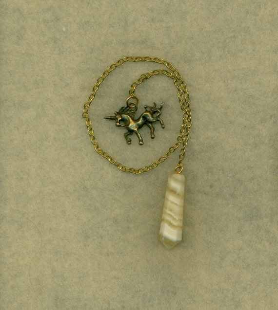 Quartz Dowsing Pendulum White Bronze Unicorn Charm  (Pe-104)