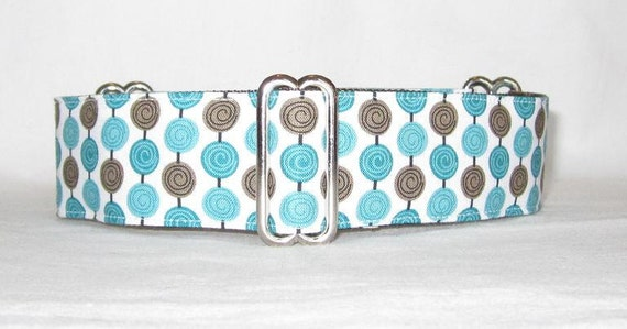 Brown and Teal Lollipop Martingale Dog Collar - 1.5 Inch - Brown Teal Aqua