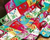 Vintage Crochet Pattern 1960s Mod Patchwork Flower Afghan Digital Download PDF