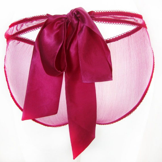 SAMPLE SALE ,Size Small, Britt bow tie Knicker, pink silk chiffon Panties