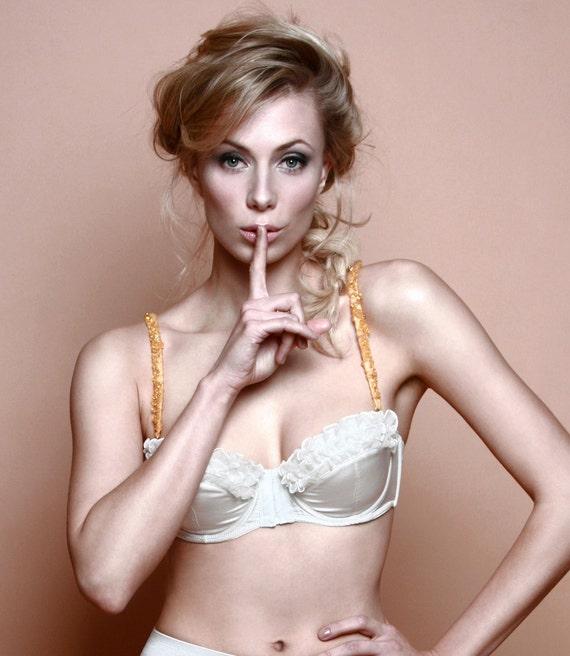 SAMPLE SALE , Charlotte Ivory silk Strapless balcony Bra - silk Lingerie - Bohemian Bride- strapless wedding bra