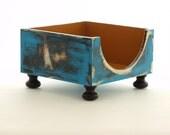 FREE SHIPPING - NAPKIN holder / Wooden napkin holder blue / mustard, Rustic style, Cottage style, Shabby Chic