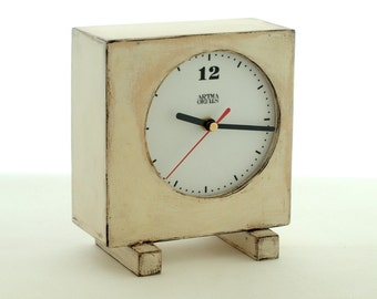 FREE SHIPPING - Wooden Clock White, Wooden Clock, Table Clock, Unique gift