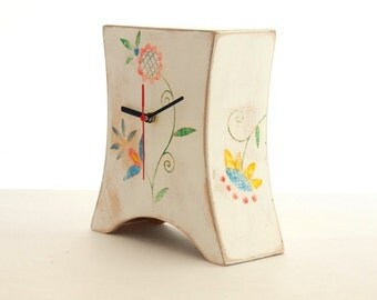 Desk White Wood Clock, Mantel clock, Folk art, Unique Mantle clock, Table Wooden clock, Mothers day gift, Spring home decor, Fathers day