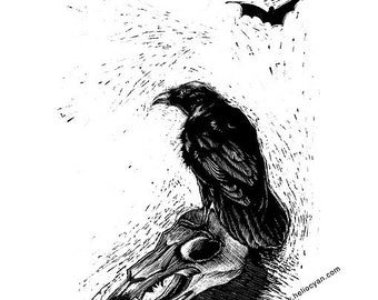 A4 PRINT 'Raven and Skull' / Erlking
