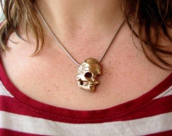 bronze skull pendant hair tie pony tail holder