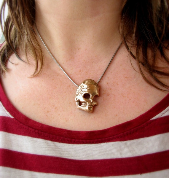 bronze skull pendant hair tie pony tail holder