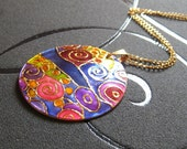 Klimt necklace handpainted, klimt jewelry, klimt pendant, chrismas jewelry gift, unique jewellery, ciber monday sale