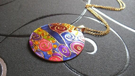 Klimt necklace handpainted, klimt jewelry, klimt pendant, chrismas jewelry gift, unique jewellery, ciber monday sale