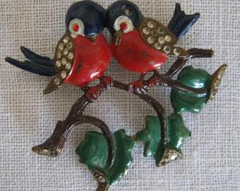 Antique Enameled Love Birds/ Rhinestone Costume Jewelry/Antique Brooch/ C.1940 By Gatormom13 JUST REDUCED