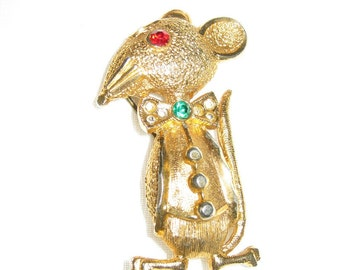 Christmas Mouse Pin/Costume Jewelry/ Rhinestone Pin/Holiday Jewelry/Christmas Pin/Goldtone Brooch/Fun Jewelry/1960s By Gatormom13