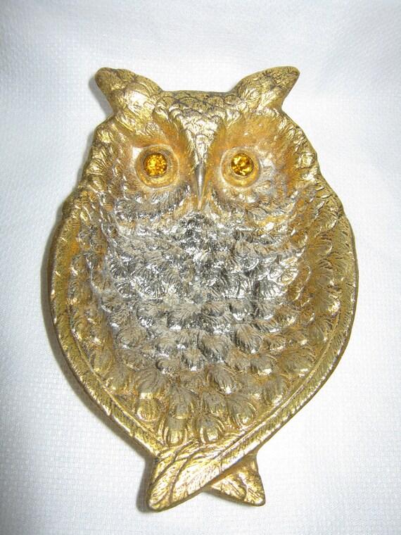 Owl Dish Metal Rhinestone Amber  Eyes c.1960s By Gatormom13