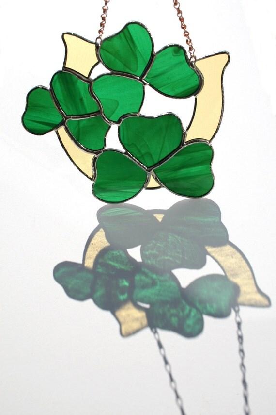 Irish Wedding Gift, Wedding Horseshoe, Stained Glass Celtic Lucky Shamrock Horseshoe Suncatcher St. Patricks Day, window decor