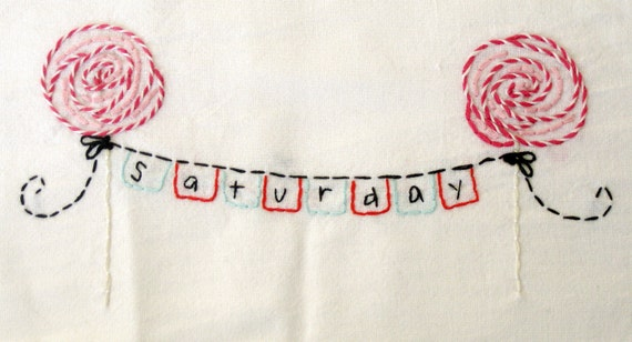 Cute Days of the Week Bunting Hand Embroidery Pattern Pack in PDF format.