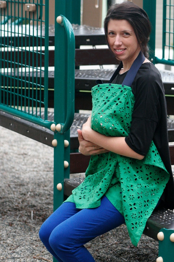 Breast Feeding Cover in Green with Navy Ribbon. Breathable and Private Cotton Nursing Apron for Newborns Ready to Ship. Baby Shower Gift.