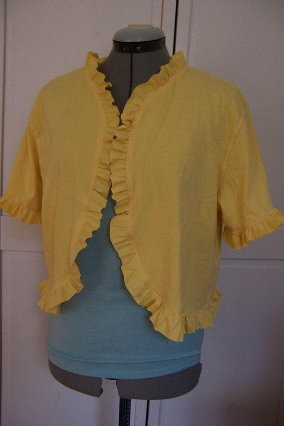 Womens Organic Cotton Ruffle Bolero Shrug Jacket, Size Medium/Large, Sunshine Yellow--Ecofriendly and Ready to Ship